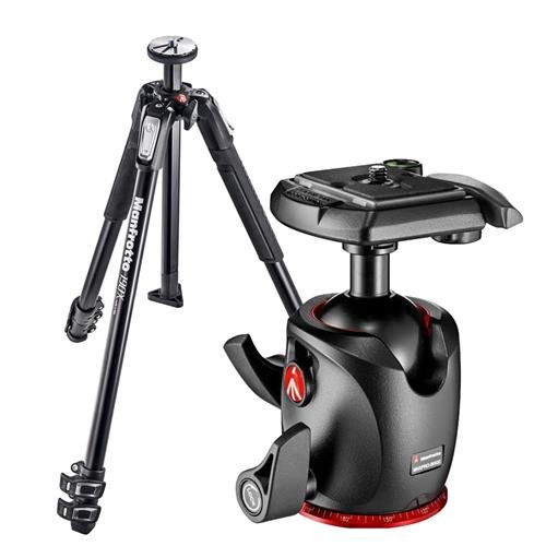 Manfrotto 190X 3 Section Aluminum Tripod, Supports 15.4 lbs, 63'' Max Height - Bundle MHXPRO-BHQ2 XPRO Ball Head with Quick-Release