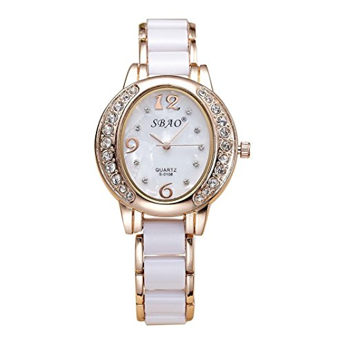 Price comparison product image Hot Sale! AMA(TM) Women Ladies Crystal Business Wrist Watch Quartz Bracelet Watches Gifts (White)