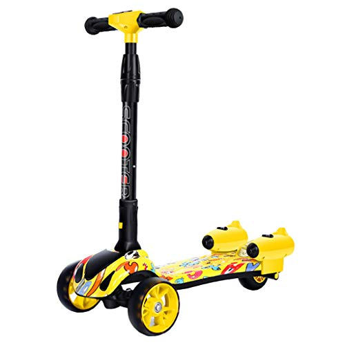 Scooter for Toddler and Kids Mist Kick Scooter Age 2-12 - Unique Rocket Misters & Sound Effects - Dual Rear Wheel Four Rounds of Full Flash Spray Scooter (Yellow)