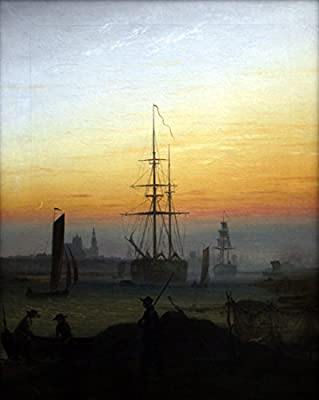 Greifwald Harbour by Caspar David Friedrich. 100% Hand Painted. Oil On Canvas. Reproduction. (Unframed and Unstretched).