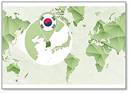 Amazon.com: World Map with Magnified South Korea Map ...