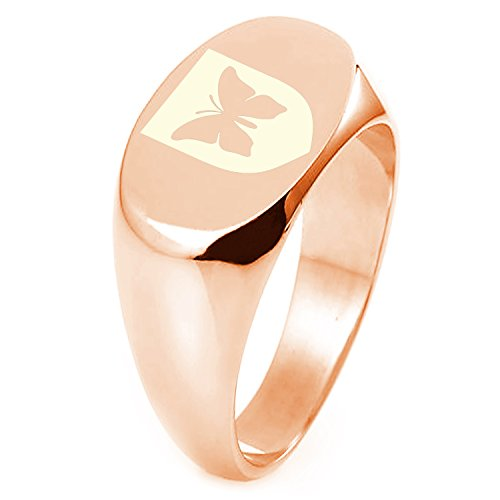 Rose Gold Plated Sterling Silver Butterfly Free Spirit Coat of Arms Shield Symbol Engraved Oval Flat Top Polished Ring, Size - Flattop Arms