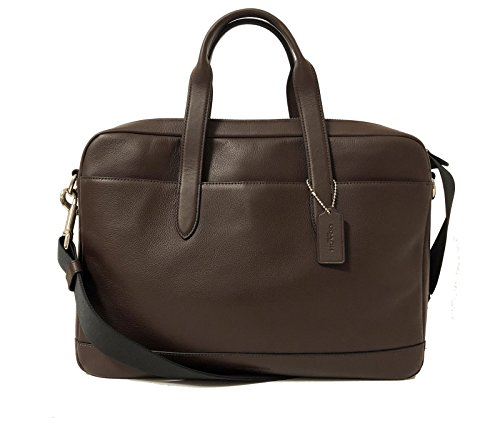 COACH Men's F54801 $450 Leather Hamilton Briefcase Crossbody Laptop Bag, Mahogany