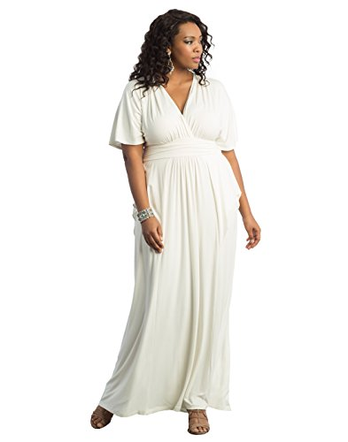 Kiyonna Women's Plus Size Indie Flair Maxi Dress 2X White Jasmine by Kiyonna Clothing