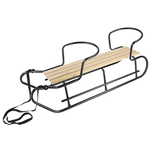 Gratis Zugseil und Bob Holzschlitten mit Rückenlehne 38cm Schlitten aus Holz