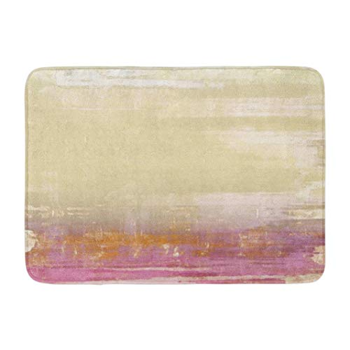 Beige Pattern,Darkchocl Decorative Bath Mat Aged Grunge Texture with Color Yellow Absorbent Non Slip 100% Flannel 17''L x 24''W for Bathroom Toilet Bath Tub Living ()