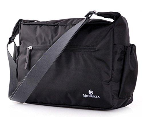 Bagtopia Men & Women's Ultra Light Nylon Cross Body Shoulder Bag Water Resistant Foldable Messenger Bag Black ()