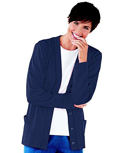 UltraSofts Button-Front Knit Cardigan, Navy, Petite XL