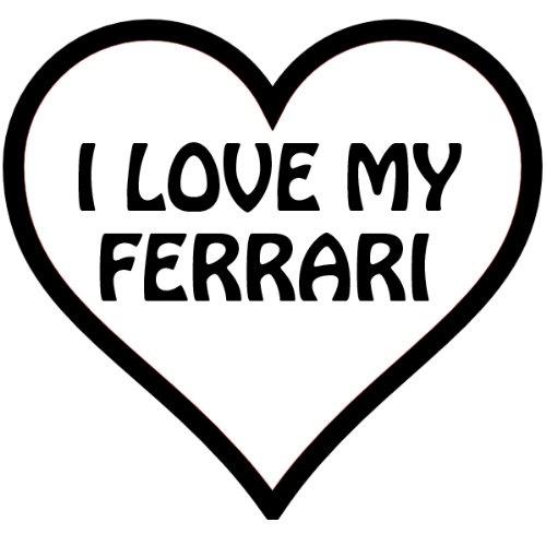 I Heart My Ferrari, In A Heart , Vinyl Car Decal, 'White', '5-by-5 - Ferraris Online