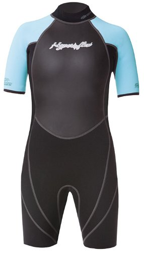 (Hyperflex Access Child's Backzip Shorty Wetsuit - Warm, Comfortable Kid's Springsuit with 4-Way Stretch Neoprene and SPF Protection - Adjustable Collar and Flat Lock Construction,(Black/Light Blue, 8))