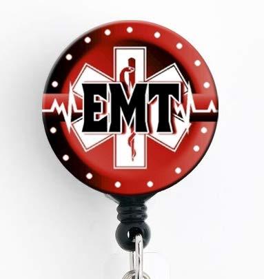 EMT レッドスターオブライフ 格納式バッジリール スイベルクリップとエクストラロング34インチコード付き バッジホルダー/EMT/EMS   B07MKX8BZ1