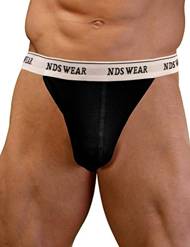 NDS Wear Mens Cotton Mesh Brazilian Thong Medium Black
