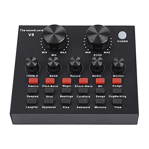ASHATA Portable Live Sound Card, Sound Card Digital Audio Mixer Mixing Console Live Broadcast Karaoke Voice for Live Recording, Home KTV, Voice Chat ()