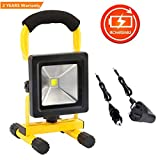 10W LED Rechargeable Work Lights Portable Floodlight IP65 Waterproof Spotlight Car Home Emergency Security Light Outdoor Travel Lamp for Camping Workshop Garden Garage