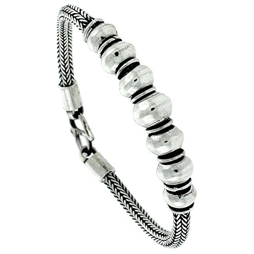 8 inch Sterling Silver Bali Style Bracelet 7 Beads, 7/16 inch by Sabrina Silver