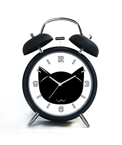 Twin Bell Analog Alarm Clock-Loud Alarm Clock(black)Custom pattern-056.Cat, Feline, Face, Silhouette, Cartoon, Animal, Pet ()