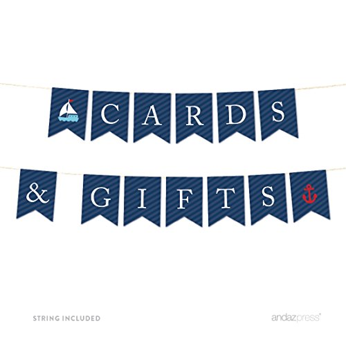 Andaz Press Nautical Baby Shower Collection, Hanging Pennant Party Banner, Cards & Gifts, 5-Feet, 1-Set, For Ocean, Sailor, Sea Themed Wedding Bridal Shower Decor Paper -