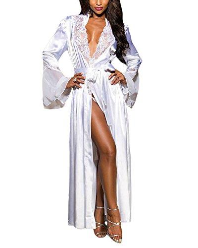 - XAKALAKA Womens Long Robe Kimono Satin Gown Lingerie White M