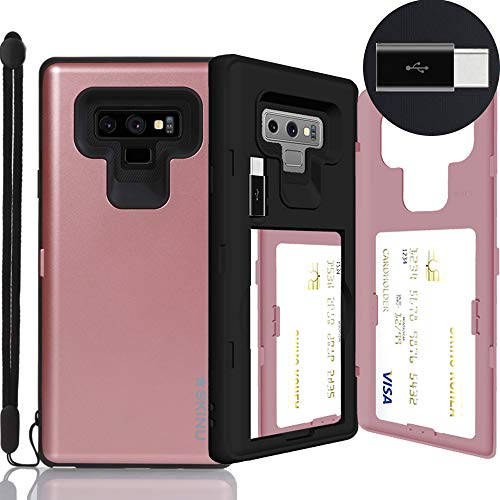 Galaxy Note 9 Case, SKINU [Note 9 Wallet Strap] Note 9 Charger Dual Layer Hidden Credit Holder Card Case with Wrist Strap Inner USB Type C Adapter and Mirror for Galaxy Note 9 (2018) - Rose Gold