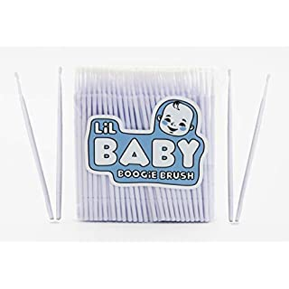 Baby Boogie and Eye Gookie Brushes, Felt Tip Mini Brushes Get in Hard to Reach Places and Clean Earwax, Boogies, and Gookies Easily (100 Pack) White or Green