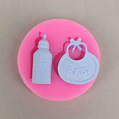 Tillwill 1Pcs Baby Birthday Party Hand Bottle and Bib Shape 3D Fondant Cake Silicone Mold Mould Molds Kitchen Candy Cupcake Decoration