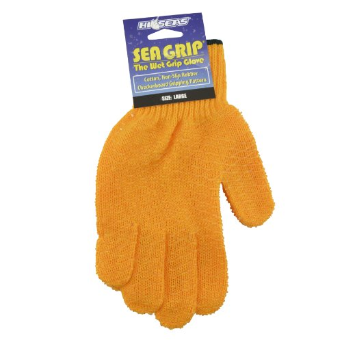 Hi-Seas Sea Grip Non-Slip Pattern Glove, Large, Orange - Hi Seas Sea Grip