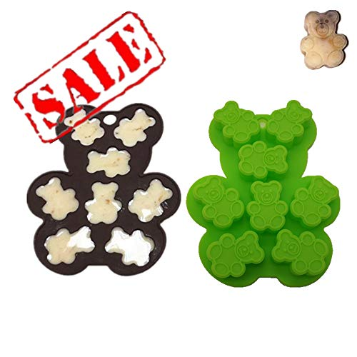 2 Pcs Teddy Bear Shape Hard Candy Mold | Fondant and Gum Paste Mini Baking Mould For Cake Decorating, BPA Free, Nonstick Silicone Better than Plastic, Random Color