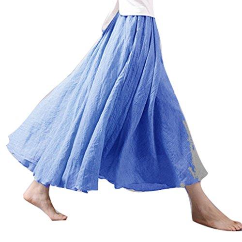 Hibote Femme Longues Jupes Taille Haute Maxi Jupes Coton Lin Double Couche Jupe Doux Confortable 20 Couleurs 85cm 95cm Bleu A