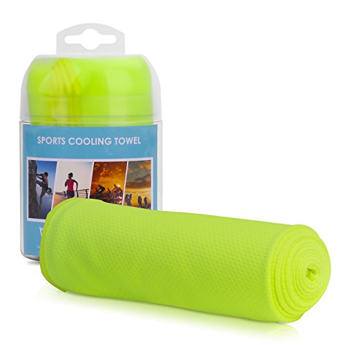 Sports Instant Cooling Towel, MoKo Super Absorbent Towel Snap Quick Dry Golf Yoga Towel, Cooling for Running, Biking, Hiking, Climbing, Basketball, Football,Tennis and Other Sports – Fluorescent Green