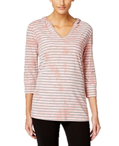 Style & Co. Plus Size Sport Striped Tie-Dyed Hoodie Top in Peach Zing