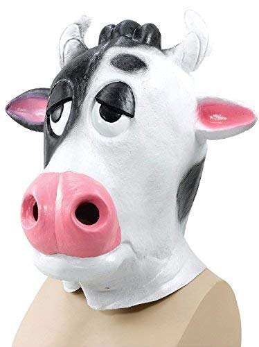 Adult Ladies Mens Pantomime Cow Rubber Full Face Mask Animal Halloween Fancy Dress Costume Outfit Accessory (Comical Cow)
