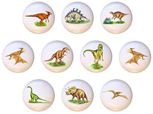 (SET OF 10 KNOBS - Realistic Dinosaurs - DECORATIVE Glossy CERAMIC Cupboard Cabinet PULLS Dresser Drawer KNOBS)