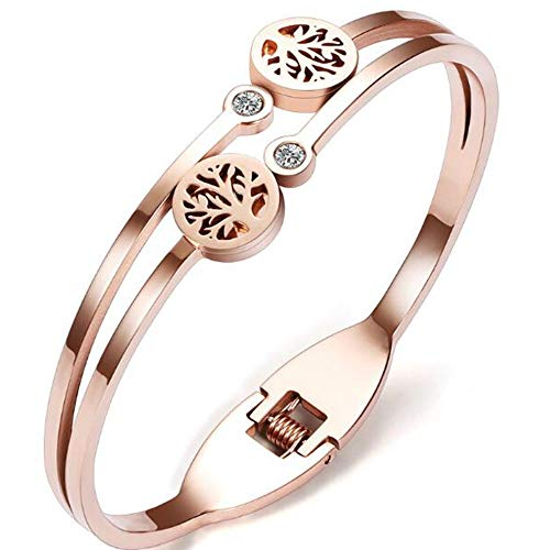 (Jude Jewelers Stainless Steel Rose Gold Tree Life Bangle Bracelet (Rose Gold))