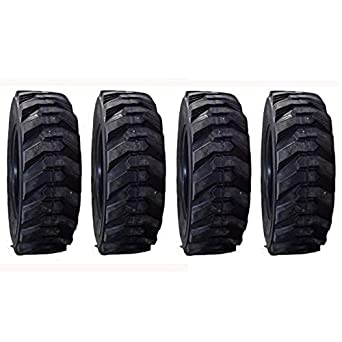 (4) 10-16.5 Heavy Duty 14 Ply Skid Steer Tires 4700 Lb Load Range with Rim Guard