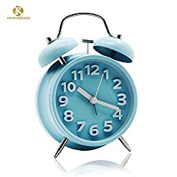 Kimdio Twin Bell Alarm Clock with Backlight, 4'' Metal Frame 3D Dial Battery Operated Travel Clock Desk Table Clock for Home and Office etc. (Blue)