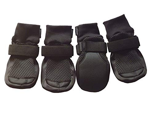 LONSUNEER Dog Boots Breathable and Protect Paws with Soft Nonslip Soles Black Color Size M L Xl (Large - Inner Sole Width 2.83 Inch) (Boots Rubber Dog)
