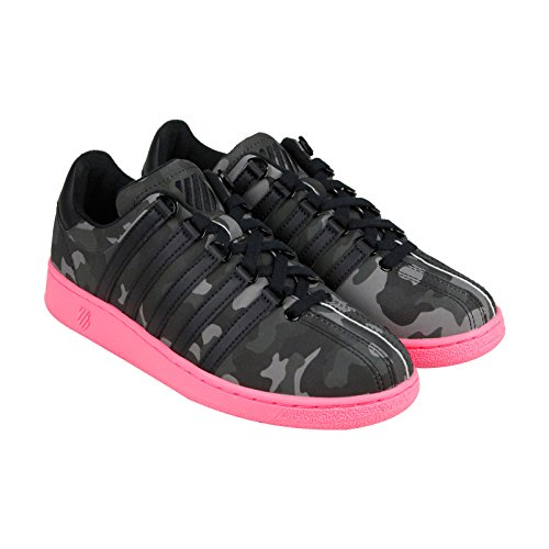 K-Swiss Women's Classic VN Camo Glam Fashion Sneaker, Black/Pewter/Neon Red, 7 M US