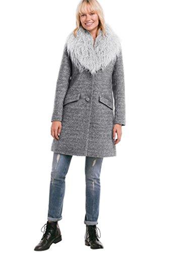 Ellos Women's Plus Size Tweed Faux Fur Coat Medium Heather Grey,22 (Coat Plus Size Tweed)