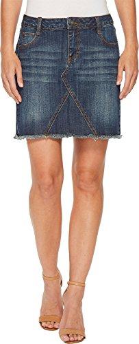 Stetson Women's Denim Five-Pocket Skirt With Raw Edge Hem Blue 8 - Edge Denim Skirt