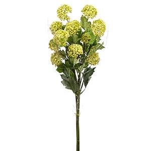 """33"""" Snowball Silk Flower Stem Bundle -Yellow/Green (Pack of 6) 86"""