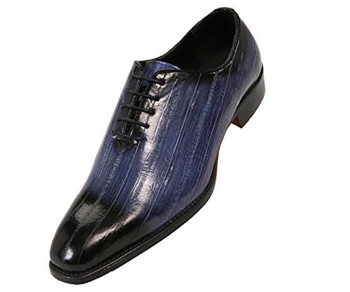 Mens Faux Croco with Toe Oxford Blue Shoes Burnished Black and Skin Exotic EEL Bolano Dress dEvwXqxBd