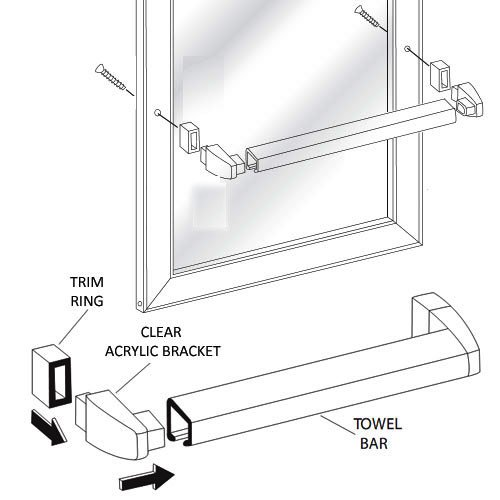 - Framed Sliding Shower Door Chrome Towel Bar with Clear Acrylic Brackets