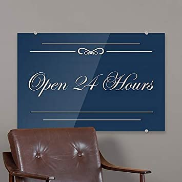 CGSignLab Open 24 Hours 5-Pack 18x12 Classic Navy Premium Brushed Aluminum Sign