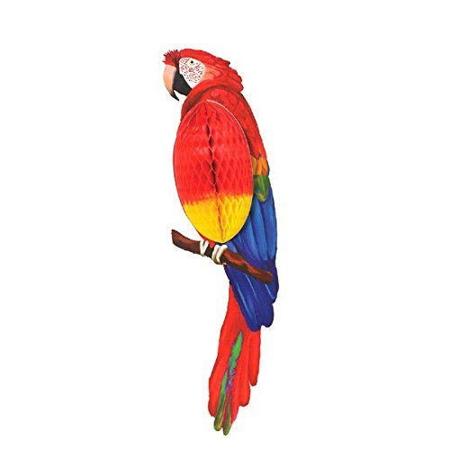 Amscan Sun-Sational Summer Luau Party Parrot Honeycomb Decoration (Pack of 1), Multicolor, 23
