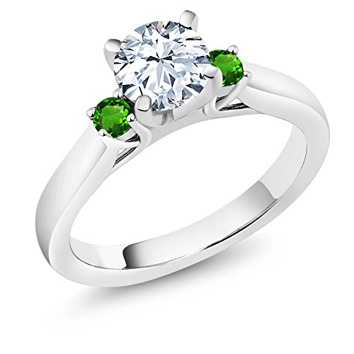 Gem Stone King 1.78Ct White Zirconia Green Simulated Tsavorite 925 Sterling Silver 3-Stone Ring (Size 7)