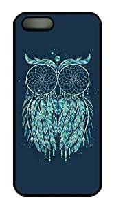 Rubber Back and DIY Case Cover For iPhone 5C Custom Soft TPU Single Shell Skin For iPhone 5C-Tribal Art Owl on Blue Background