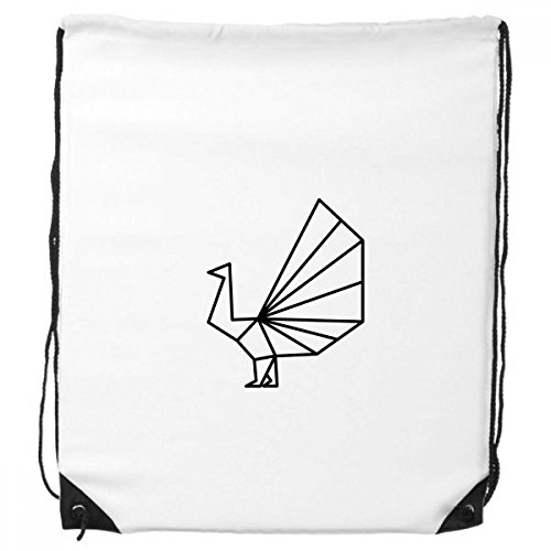 Abstract Origami Peacock Geometric Shape Drawstring Backpack Shopping Sports Bags (Origami Peacock)