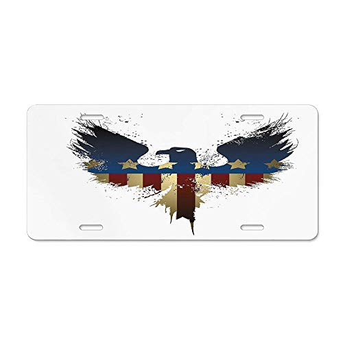 Kingsinoutdoor Eagle,The American Flag on Silhouette of National Bird of The Country Majestic Animal,Blue Red Sepia Customizable Aluminum Metal License Plate Cover Car Tag Sign 12 x 6 in ()