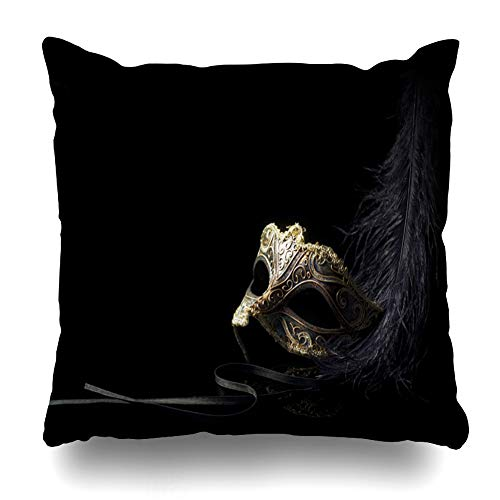 - NOWCustom Throw Pillow Cover Face Masquerade Carnival Mask Black Holidays Ball Party Venetian Gold Antique Zippered Pillowcase Square Size 20 x 20 Inches Home Decor Pillow Case