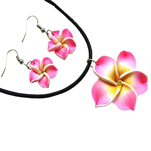 - Donau Plumeria Fimo Flower Earring Pendant Necklace Jewelry Set 6Colors